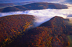 Autumn foliage, mountains and fog over Susquehanna River, Hyner View State Park
