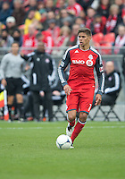 21 April 2012: Toronto FC defender Adrian Cann #12 in action during a game between the Chicago Fire and Toronto FC at BMO Field in Toronto..The Chicago Fire won 3-2....