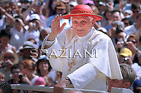 "Pope Benedict XVI wear his ""saturno"" hat before the weekly general audience on June 30, 2010 in St Peter's square at the Vatican"