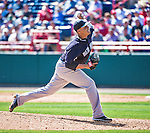 11 March 2014: New York Yankees pitcher Cesar Cabral on the mound during a Spring Training game against the Washington Nationals at Space Coast Stadium in Viera, Florida. The Nationals defeated the Yankees 3-2 in Grapefruit League play. Mandatory Credit: Ed Wolfstein Photo *** RAW (NEF) Image File Available ***
