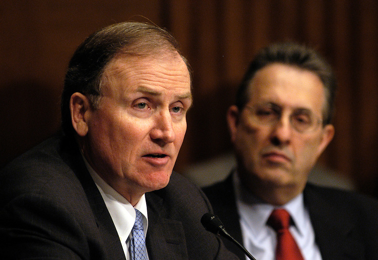 Deputy Treasury Secretary Robert Kimmitt, and State Department Bureau of Economic and Business Affairs Assistant Secretary Tony Wayne testify at a Senate Armed Services Committee briefing on national security implications of the acquisition of Peninsular and Oriental Steamship Navigation Company by Dubai Ports World - a government-owned and controlled firm of the United Arab Emirates..