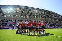 The Bath Rugby team huddle together during the pre-match warm-up. European Rugby Challenge Cup Semi Final, between Stade Francais and Bath Rugby on April 23, 2017 at the Stade Jean-Bouin in Paris, France. Photo by: Patrick Khachfe / Onside Images