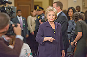 Former United States Secretary of State Hillary Rodham Clinton, a candidate for the 2016 Democratic Party nomination for President of the United States, arrives at the witness table prior to her testimony before the US House Select Committee on Benghazi on Capitol Hill in Washington, DC on Thursday, October 22, 2015.<br /> Credit: Ron Sachs / CNP