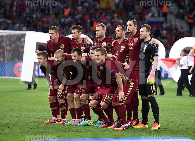 FUSSBALL EURO 2016 GRUPPE B IN LILLE Russland - Slowakei     15.06.2016 Teamfoto Russland