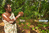 Monkey priest at monkey cemetary, Boabeng-Fiema Monkey Sactuary, Ghana