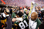 Green Bay Packers' Bryan Bulaga and Andrew Quarless celebrate after the Packers won the Super Bowl. .The Green Bay Packers played the Pittsburgh Steelers in Super Bowl XLV,  Sunday February 6, 2011 in Cowboys Stadium. Steve Apps-State Journal.