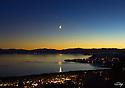 Lake Tahoe Landscape Moon Over Crystal Bay