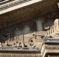 Detail of relief illustrating a steam locomotive on the pediment of Pavillon Richelieu and Colbert, 1857, Louvre Museum, Paris, France. Picture by Manuel Cohen