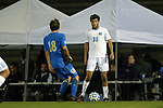 06 December 2014: North Carolina's Rob Lovejoy (16) and UCLA's Brian Iloski (18). The University of California Los Angeles Bruins hosted the University of North Carolina Tar Heels at Drake Stadium in Los Angeles, California in a 2014 NCAA Division I Men's Soccer Tournament Quarterfinal round match. The game ended in a 3-3 tie after two overtimes. UCLA advanced to the next round by winning the penalty kick shootout 7-6.