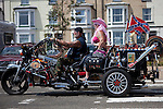 Hard-core British bikers ride the strip in the town of Lowestoft, Suffolk, England.