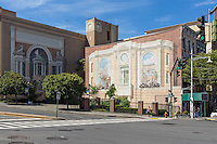 "Two of the ""Gateway to Waterfront"" murals on building walls in the Richard Haas Mural Historic District in Yonkers, New York."