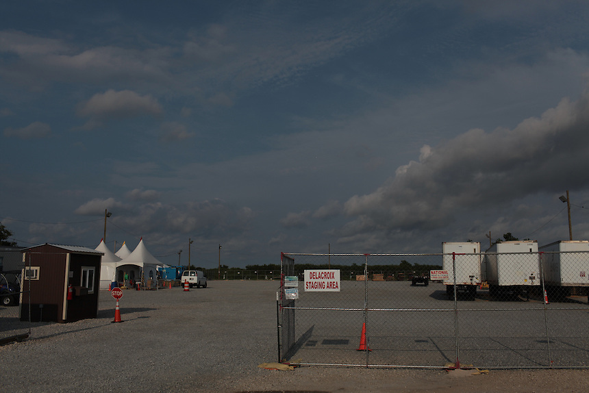 The Delacroix Staging Area for BP contractors working the oil spill on Delacroix Island , LA August 26th, 2010.