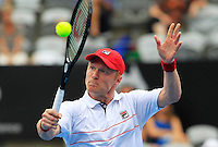 Dmitry Tursunov of Russia returns to Juan Martin del Potro of Argentina during their semi-final match at the Sydney International tennis tournament, Jan. 10, 2014.  Daniel Munoz/Viewpress IMAGE RESTRICTED TO EDITORIAL USE ONLY