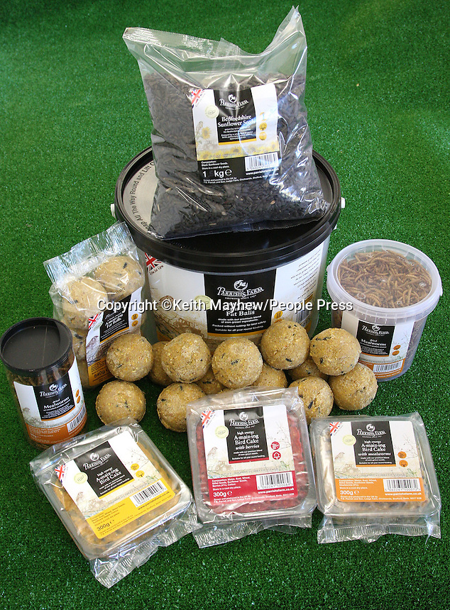 Bedfordshire - Family Farming business Parrish's Farm launch range of Bird Food produced and grown themselves. Brothers James and Nick Parrish with some their products - grown to LEAF Standards - including their signature 'A-maiz-ing Fat Balls' - November 1st 2011..Photo by Keith Mayhew