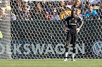 Goalkeeper of the LA Galaxy Donovan Ricketts watches the action. The Chicago Fire beat the LA Galaxy 3-2 at Home Depot Center stadium in Carson, California on Sunday August 1, 2010.