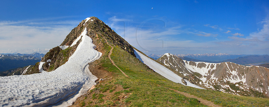 This panorama shows the final pitch towards the summit of Byers Peak near Fraser, Colorado. This day was beautiful, and the winds at the peak were unusually calm. Doesn't get much better in summertime in the Rocky Mountains.