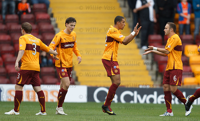 Motherwell celebrate after taking the lead through a Scott Severin OG