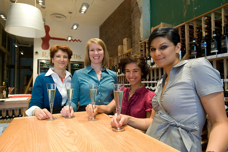 Female sommeliers pose for a photo at Potenza's wine store at their location, 15th and H streets NW, Washington, D.C., September 22, 2009. L to R: Kathy Morgan, Jill Zimorski, Julianna Santos and Elli Benchimol.
