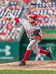 30 August 2015: Washington Nationals pitcher Drew Storen on the mound for the 8th inning against the Miami Marlins at Nationals Park in Washington, DC. The Nationals rallied to defeat the Marlins 7-4 in the third game of their 3-game weekend series. Mandatory Credit: Ed Wolfstein Photo *** RAW (NEF) Image File Available ***