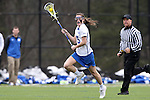 22 February 2015: Duke's Maura Schwitter. The Duke University Blue Devils hosted the College of William & Mary Tribe on the West Turf Field at the Duke Athletic Field Complex in Durham, North Carolina in a 2015 NCAA Division I Women's Lacrosse match. Duke won the game 17-7.