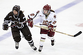 Erica Kromm (Brown - 4), Kristina Brown (BC - 2) - The Boston College Eagles defeated the visiting Brown University Bears 5-2 on Sunday, October 24, 2010, at Conte Forum in Chestnut Hill, Massachusetts.
