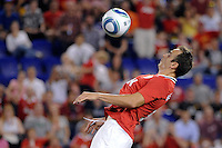 Dimitar Berbatov (9) of Manchester United steadies the ball moments before scoring. Manchester United defeated the MLS All-Stars 4-0 during the MLS ALL-Star game at Red Bull Arena in Harrison, NJ, on July 27, 2011.