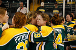 ST CHARLES, MO - MARCH 19:  Loren Gabel (19) of the Clarkson Golden Knights is overcome with emotion as she celebrates the Clarkson victory over the Wisconsin Badgers to win the Division I Women's Ice Hockey Championship held at The Family Arena on March 19, 2017 in St Charles, Missouri. Clarkson defeated Wisconsin 3-0 to win the national championship. (Photo by Mark Buckner/NCAA Photos via Getty Images)