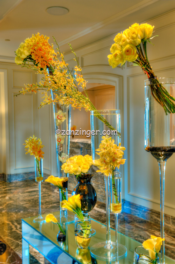 Ritz Carlton Laguna Niguel CA, Yellow Roses on Display, Dana Point