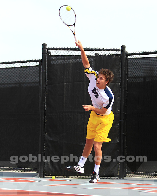 The University of Michigan men's tennis team beat Indiana, 4-2, in the Big Ten Championship quarterfinals at the Buckeye Varsity Tennis Center in Columbus, Ohio, on April 6, 2013.