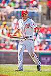 25 July 2013: Washington Nationals fielder Stephen Lombardozzi walks back to the dugout during a game against the Pittsburgh Pirates at Nationals Park in Washington, DC. The Nationals salvaged the last game of their series, winning 9-7 ending their 6-game losing streak. Mandatory Credit: Ed Wolfstein Photo *** RAW (NEF) Image File Available ***