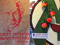 6. &quot;King Bibi&quot;: defaced poster depicting Prime Minister Netanyahu, near Tiberias, Galilee.<br /> <br /> In a coffee shop festooned with political posters, this crude portrait of Prime Minister Netanyahu caught my eye. Someone had scrawled horns and &quot;Hail Satan&quot; on an image meant to vilify him by activists campaigning for social justice. The silkscreened Hebrew says &quot;good luck to us all in the class warfare&quot; followed by &quot;hashtag Bibi the King,&quot; made more menacing by the devilish drawing. <br /> <br /> To the right, a bumper sticker depicts a map of the Golan with an ominous black hole in its center. The text says &quot;For this stain there is no price; stop drilling oil in the Golan!&quot; The message is sponsored by The Green Objective, an environmental action group, and artificial pomegranates hang brightly above it on the wall. One can just make out slogans on the other posters in the background. In English, they call for &quot;global change.&quot;