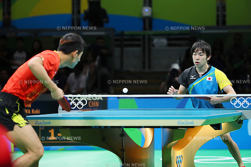 (L-R) Zhang Jike (CHN), Koki Niwa (JPN), <br /> AUGUST 9, 2016 - Table Tennis : <br /> Men's Singles Quarter-final <br /> at Riocentro - Pavilion 3 <br /> during the Rio 2016 Olympic Games in Rio de Janeiro, Brazil. <br /> (Photo by Yohei Osada/AFLO SPORT)