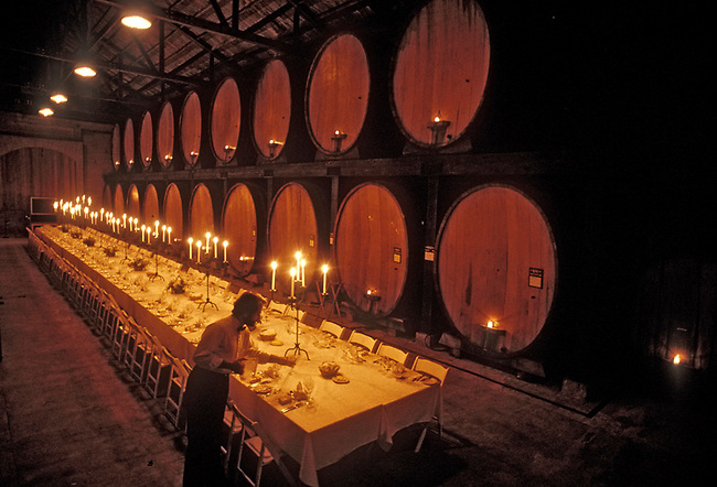 Preparing dinner in Cask Room of Merryvale Vineyards, St. Helena