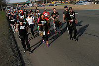 People walk during the March4justice in North Brunswick, New Jersey 04.13.2015. The Action it's a nine day march from NYC to the U.S. Capitol in Washington DC. Kena Betancur/VIEWpress.