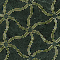 Tallulahl, a stone water jet mosaic, shown in Verde Alpi and Chartreuse, is part of the Ann Sacks Beau Monde collection sold exclusively at www.annsacks.com