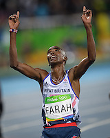Team GB Mo Farah wins the 10,000m in Rio2016. Mo Farah became the first British track and field athlete to win three Olympic gold medals.<br /> Rio de Janeiro, Brazil on August 13, 2016<br /> CAP/CAM<br /> &copy;Andre Camara/Capital Pictures /MediaPunch ***NORTH AND SOUTH AMERICAS ONLY***