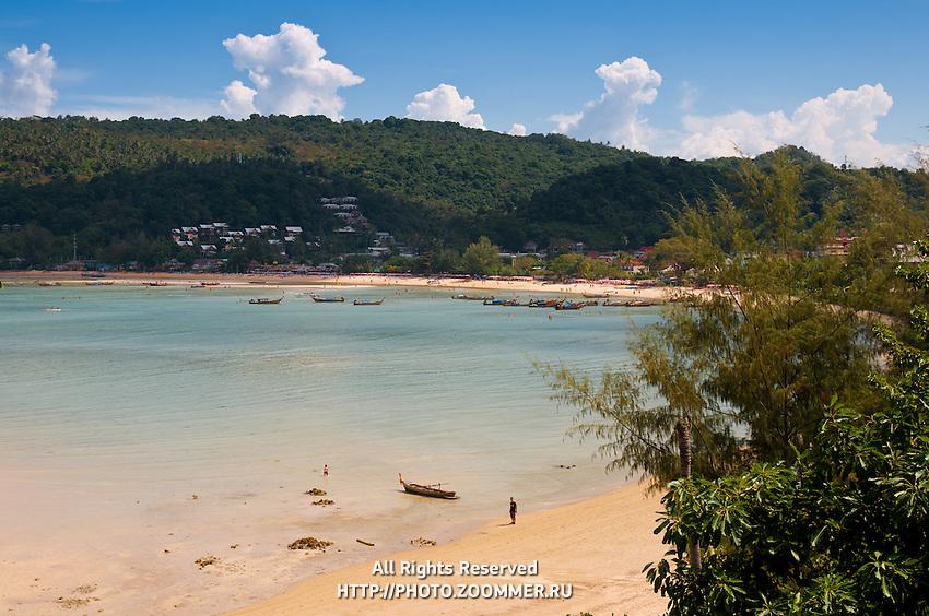 Panorama of low tide beach on Ton Sai Bay, Phi-Phi island, Thailand