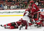 Devin Tringale (Harvard - 22), Drew Smolcynski (SLU - 17) - The Harvard University Crimson defeated the St. Lawrence University Saints 6-3 (EN) to clinch the ECAC playoffs first seed and a share in the regular season championship on senior night, Saturday, February 25, 2017, at Bright-Landry Hockey Center in Boston, Massachusetts.