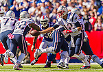 12 October 2014: New England Patriots quarterback Tom Brady (12) hands off to running back Stevan Ridley (22) during a game against the Buffalo Bills at Ralph Wilson Stadium in Orchard Park, NY. The Patriots defeated the Bills 37-22 to move into first place in the AFC Eastern Division. Mandatory Credit: Ed Wolfstein Photo *** RAW (NEF) Image File Available ***