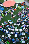 The Terrible Adult Chamber Orchestra (TACO) performs on the State Street Green in downtown Los Altos August 2.