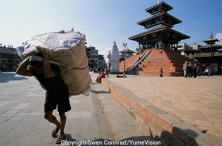 Merchandise carriers at Durbar square in Kathmandu City, Nepal