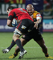 Chiefs' Sona Taumalolo challenges Crusaders' George Whitelock in a Super Rugby match, Waikato Stadium, Hamilton, New Zealand, Friday, July 06, 2012.  Credit:SNPA / David Rowland
