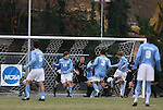 06 December 2008: North Carolina's Kirk Urso (right, in yellow shoes) scores the game's only goal. The University of North Carolina Tar Heels defeated the Northwestern University Wildcats 1-0 at Fetzer Field in Chapel Hill, North Carolina in a NCAA Division I Men's Soccer tournament quarterfinal game.