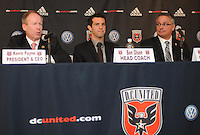 DC United President and CEO Kevin Payne,  Head Coach Ben Olsen,General Manager Dave Kasper during the presentation for his new position as DC United Head Coach at RFK Stadium, Monday November 29, 2010.