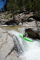 """Kayaker on Silver Creek 12"" - This kayaker was photographed on Silver Creek - South Fork, near Icehouse Reservoir, CA."