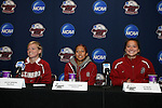 05 December 2009: From left: Alicia Jenkins, Christen Press, and Ali Riley. The Stanford University Cardinal held a press conference at the Aggie Soccer Complex in College Station, Texas on the day before playing the University of North Carolina Tar Heels in the NCAA Division I Women's College Cup championship game.
