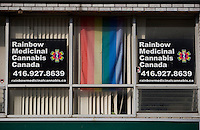 Rainbow medicinal Cannabis clinic is seen in Toronto Church and Wellesley village April 21, 2010. Church and Wellesley is an LGBT-oriented community located in Toronto, Ontario, Canada, roughly bounded by Gerrard Street to the south, Yonge Street to the west, Charles Street to the north, and Jarvis Street to the east, with the core commercial strip located along Church Street from Wellesley south to Alexander.