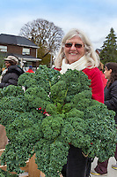 Colette Murphy with an armfull of Highmark Farms kale at Wychwood farmers Market