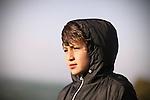 Boy on a windy day