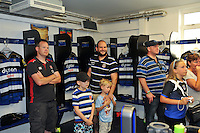 Supporters are given a tour of the Bath Rugby changing rooms. Bath Rugby Family Festival of Rugby, on August 8, 2015 at the Recreation Ground in Bath, England. Photo by: Patrick Khachfe / Onside Images